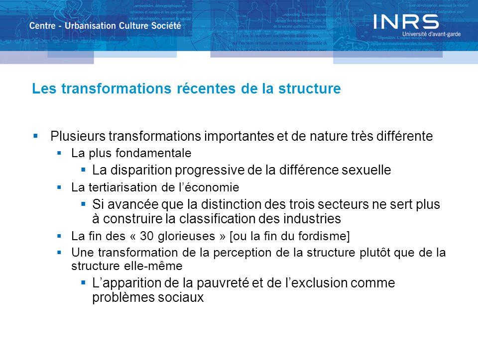 Les transformations récentes de la structure Plusieurs transformations importantes et de nature très différente La plus fondamentale La disparition pr