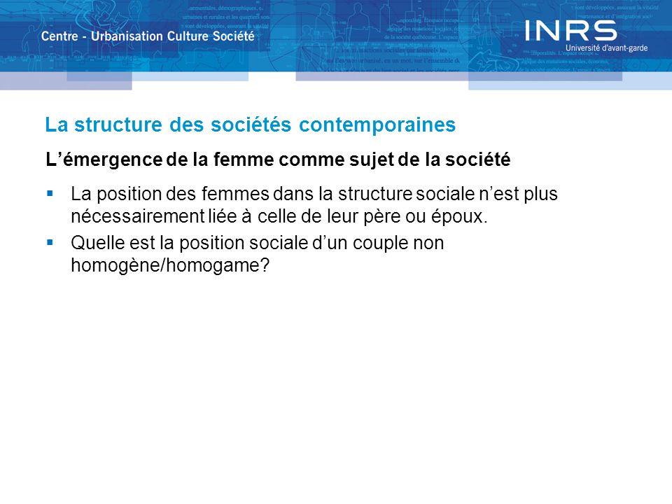 La structure des sociétés contemporaines Lémergence de la femme comme sujet de la société La position des femmes dans la structure sociale nest plus n