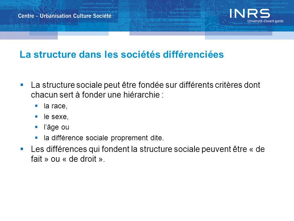La structure dans les sociétés différenciées La structure sociale peut être fondée sur différents critères dont chacun sert à fonder une hiérarchie :