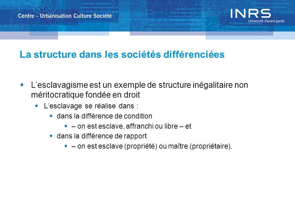 La structure dans les sociétés différenciées Lesclavagisme est un exemple de structure inégalitaire non méritocratique fondée en droit Lesclavage se r