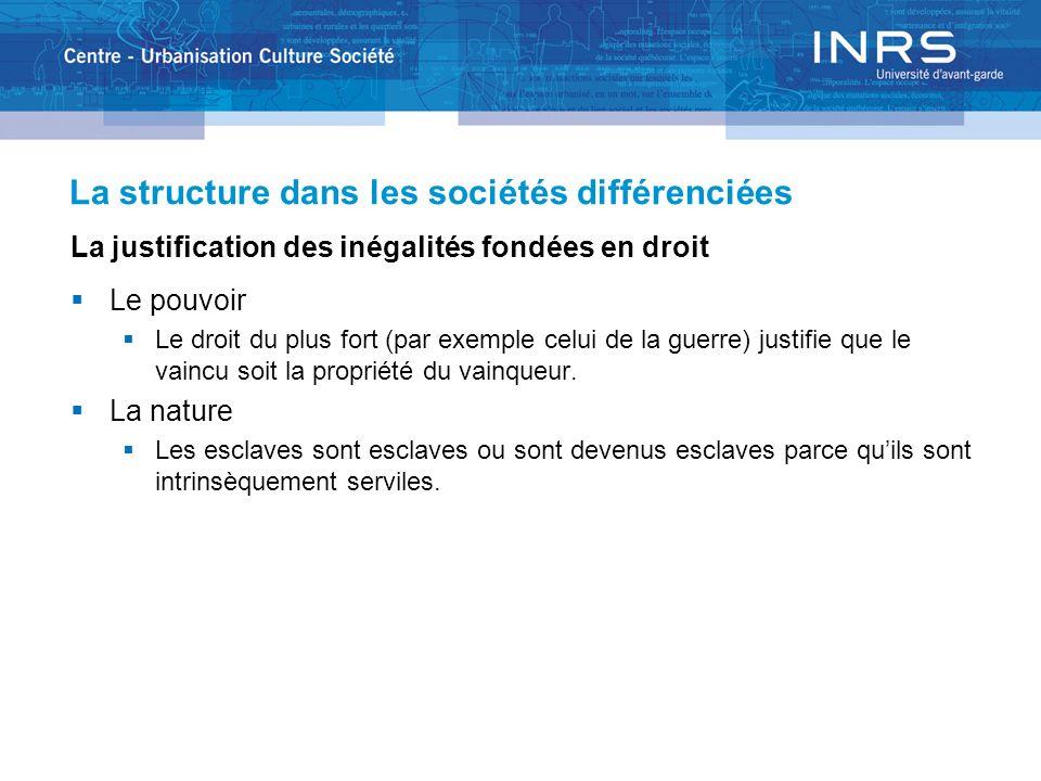 La structure dans les sociétés différenciées La justification des inégalités fondées en droit Le pouvoir Le droit du plus fort (par exemple celui de l