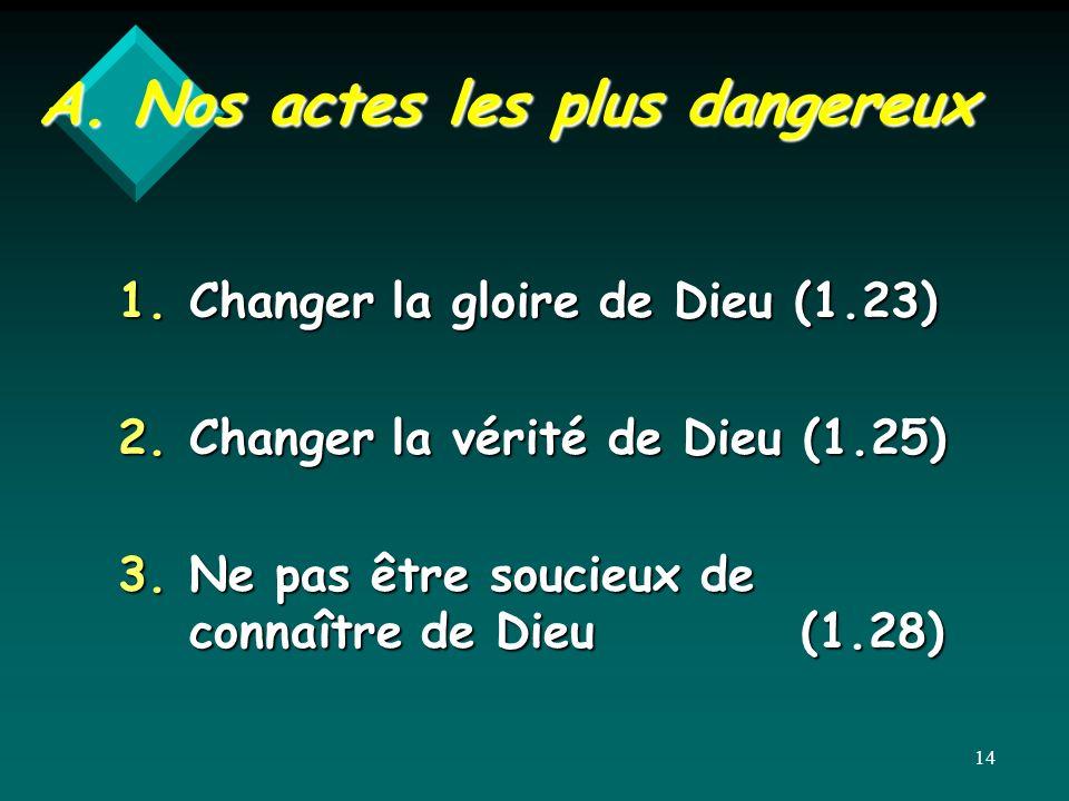 A. Nos actes les plus dangereux 1.Changer la gloire de Dieu (1.23) 2.Changer la vérité de Dieu (1.25) 3.Ne pas être soucieux de connaître de Dieu (1.2