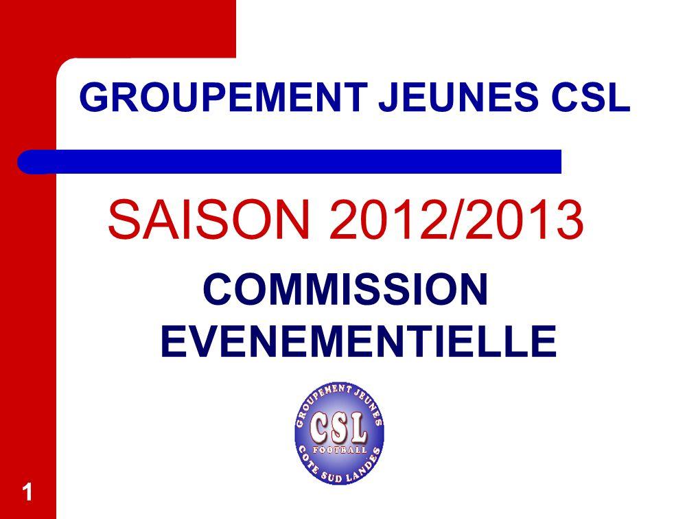11 GROUPEMENT JEUNES CSL SAISON 2012/2013 COMMISSION EVENEMENTIELLE