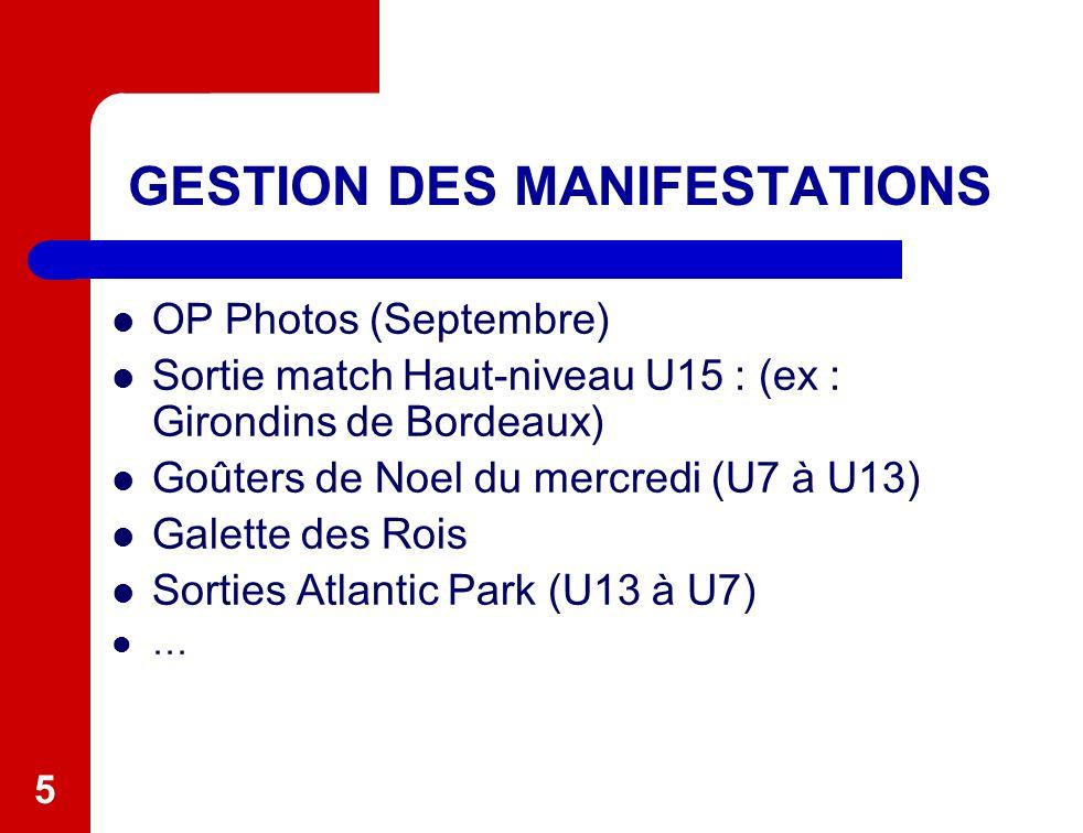 5 GESTION DES MANIFESTATIONS OP Photos (Septembre) Sortie match Haut-niveau U15 : (ex : Girondins de Bordeaux) Goûters de Noel du mercredi (U7 à U13) Galette des Rois Sorties Atlantic Park (U13 à U7) …