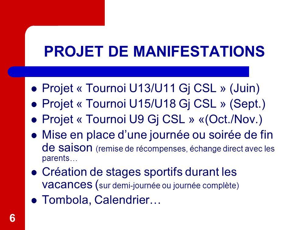 6 PROJET DE MANIFESTATIONS Projet « Tournoi U13/U11 Gj CSL » (Juin) Projet « Tournoi U15/U18 Gj CSL » (Sept.) Projet « Tournoi U9 Gj CSL » «(Oct./Nov.
