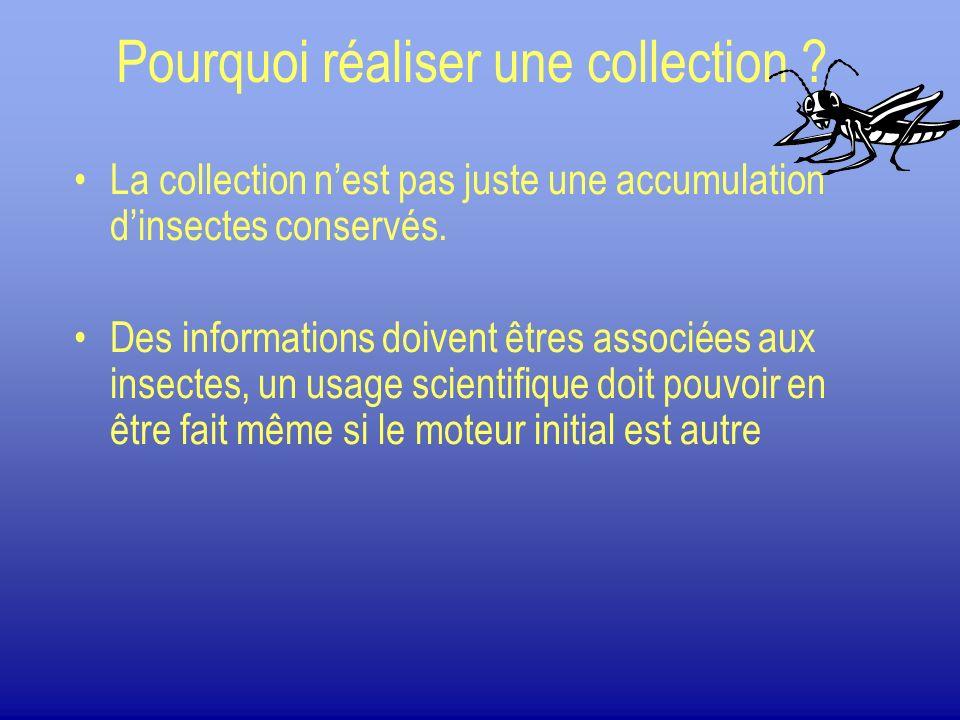 Pourquoi réaliser une collection ? La collection nest pas juste une accumulation dinsectes conservés. Des informations doivent êtres associées aux ins