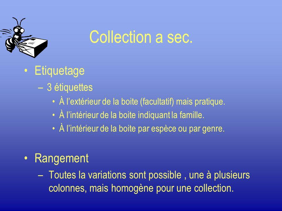 Collection a sec. Etiquetage –3 étiquettes À lextérieur de la boite (facultatif) mais pratique. À lintérieur de la boite indiquant la famille. À linté