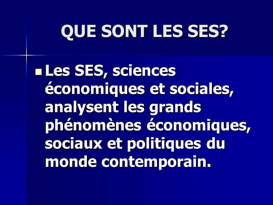 QUE SONT LES SES? Les SES, sciences économiques et sociales, analysent les grands phénomènes économiques, sociaux et politiques du monde contemporain.