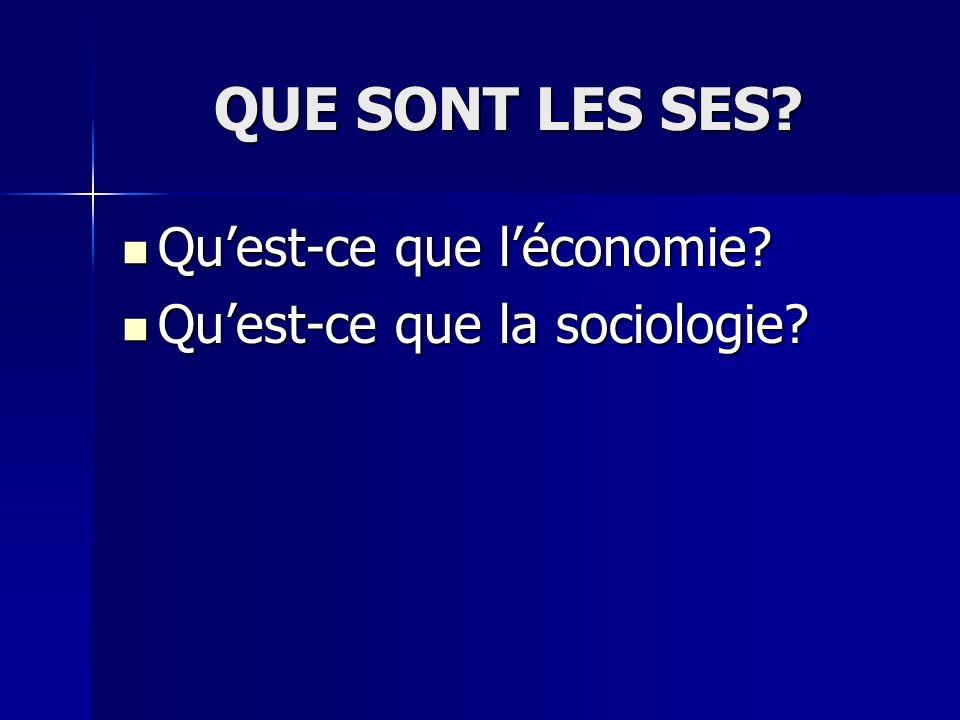 QUE SONT LES SES? Quest-ce que léconomie? Quest-ce que léconomie? Quest-ce que la sociologie? Quest-ce que la sociologie?