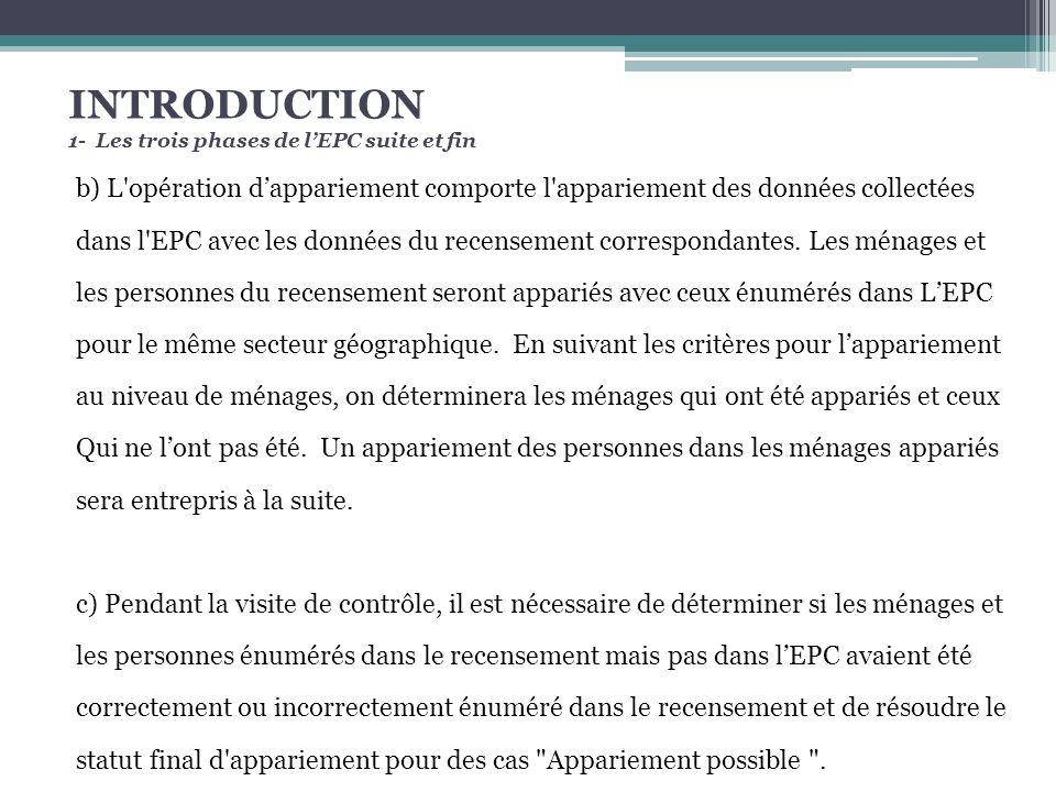 INTRODUCTION 1- Les trois phases de lEPC suite et fin b) L opération dappariement comporte l appariement des données collectées dans l EPC avec les données du recensement correspondantes.