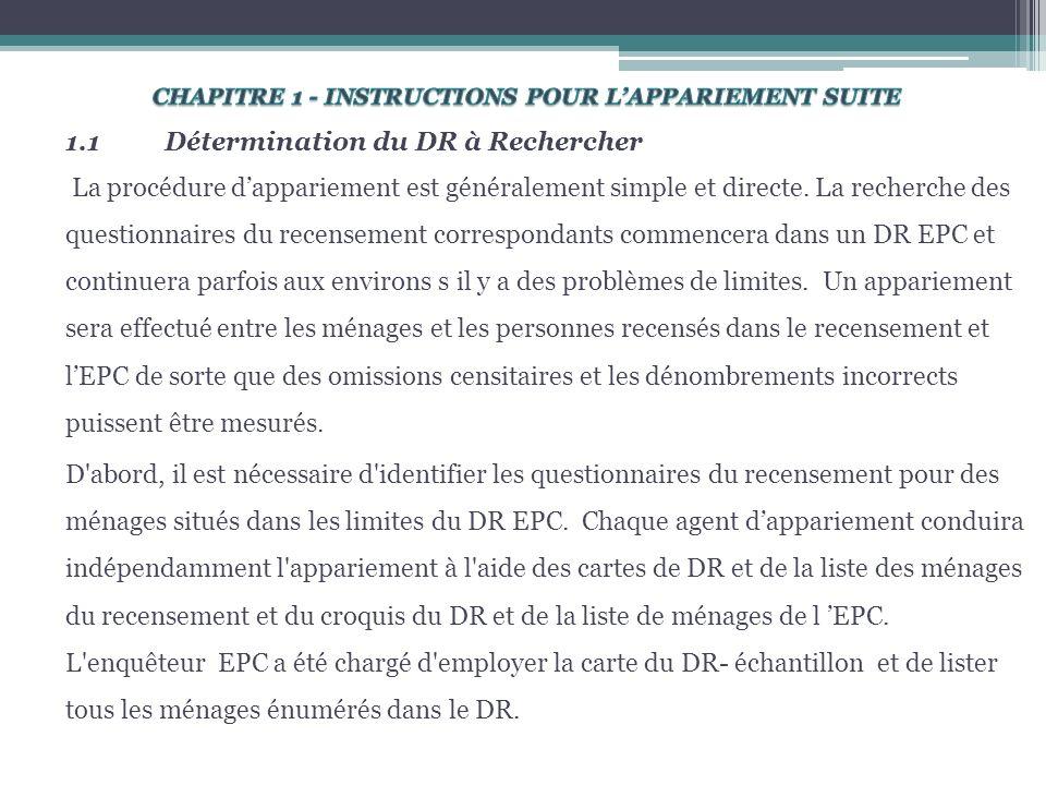 1.1Détermination du DR à Rechercher La procédure dappariement est généralement simple et directe.