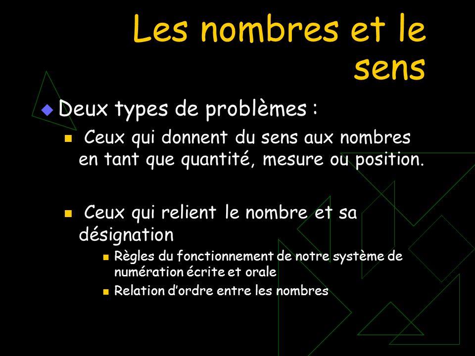 Les nombres et le sens Deux types de problèmes : Ceux qui donnent du sens aux nombres en tant que quantité, mesure ou position. Ceux qui relient le no