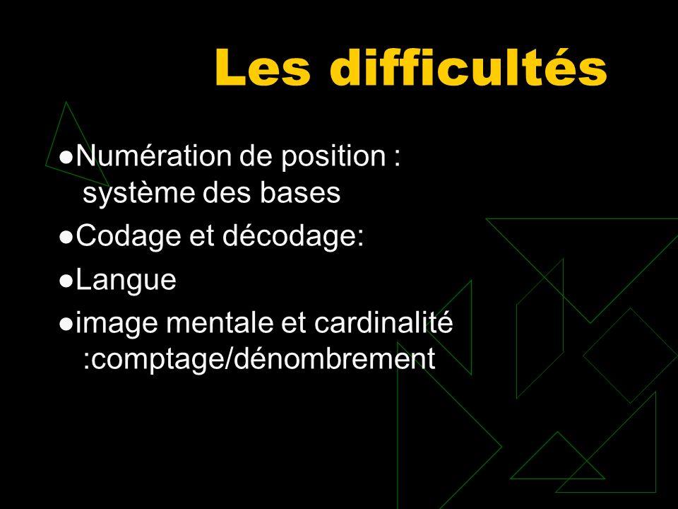 Les difficultés Numération de position : système des bases Codage et décodage: Langue image mentale et cardinalité :comptage/dénombrement