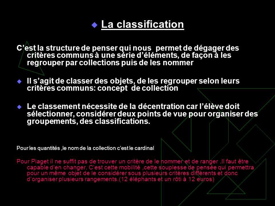 La classification Cest la structure de penser qui nous permet de dégager des critères communs à une série déléments, de façon à les regrouper par coll