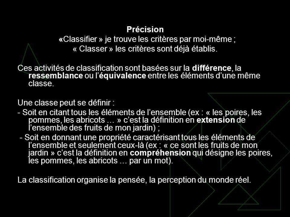 Précision «Classifier » je trouve les critères par moi-même ; « Classer » les critères sont déjà établis. Ces activités de classification sont basées