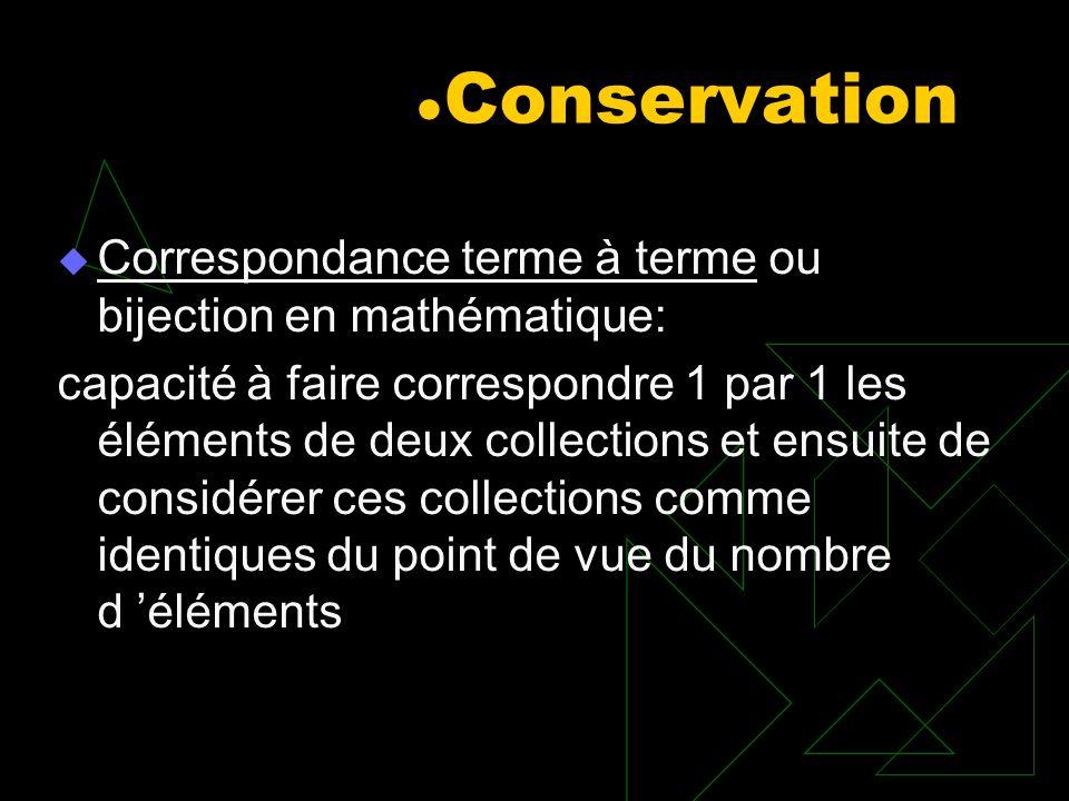 Conservation Correspondance terme à terme ou bijection en mathématique: capacité à faire correspondre 1 par 1 les éléments de deux collections et ensu