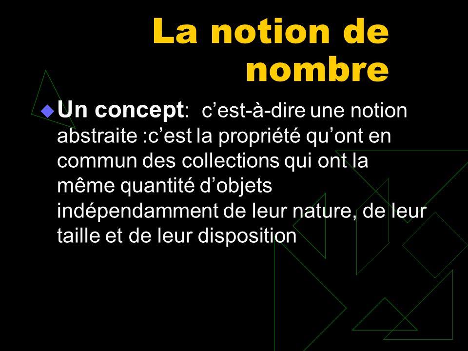 La notion de nombre Un concept : cest-à-dire une notion abstraite :cest la propriété quont en commun des collections qui ont la même quantité dobjets