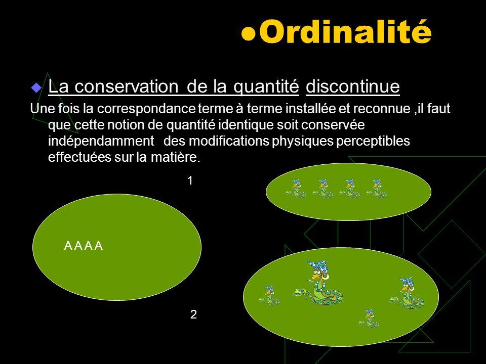 Ordinalité La conservation de la quantité discontinue Une fois la correspondance terme à terme installée et reconnue,il faut que cette notion de quant