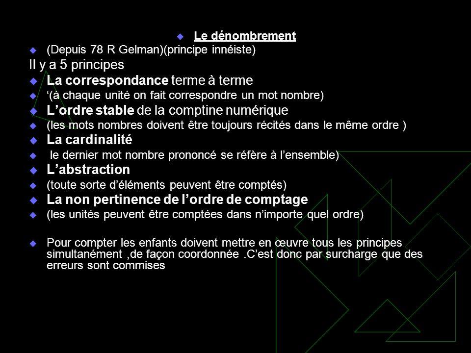 Le dénombrement (Depuis 78 R Gelman)(principe innéiste) Il y a 5 principes La correspondance terme à terme (à chaque unité on fait correspondre un mot