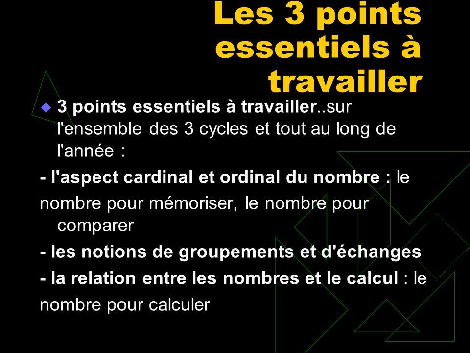 Les 3 points essentiels à travailler 3 points essentiels à travailler..sur l'ensemble des 3 cycles et tout au long de l'année : - l'aspect cardinal et
