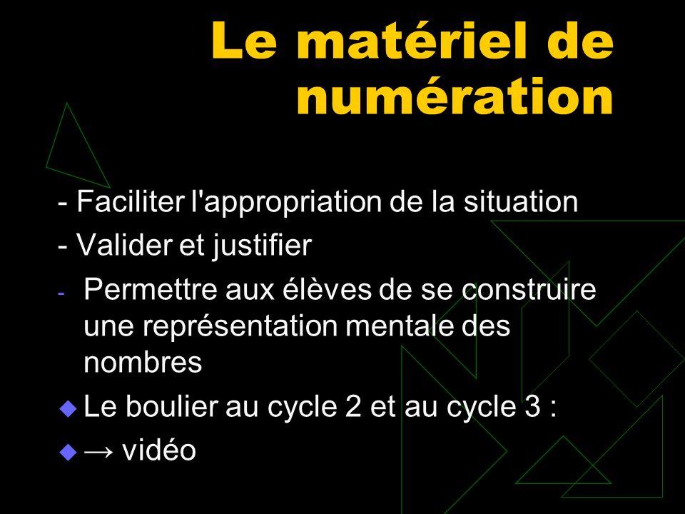 Le matériel de numération - Faciliter l'appropriation de la situation - Valider et justifier - Permettre aux élèves de se construire une représentatio