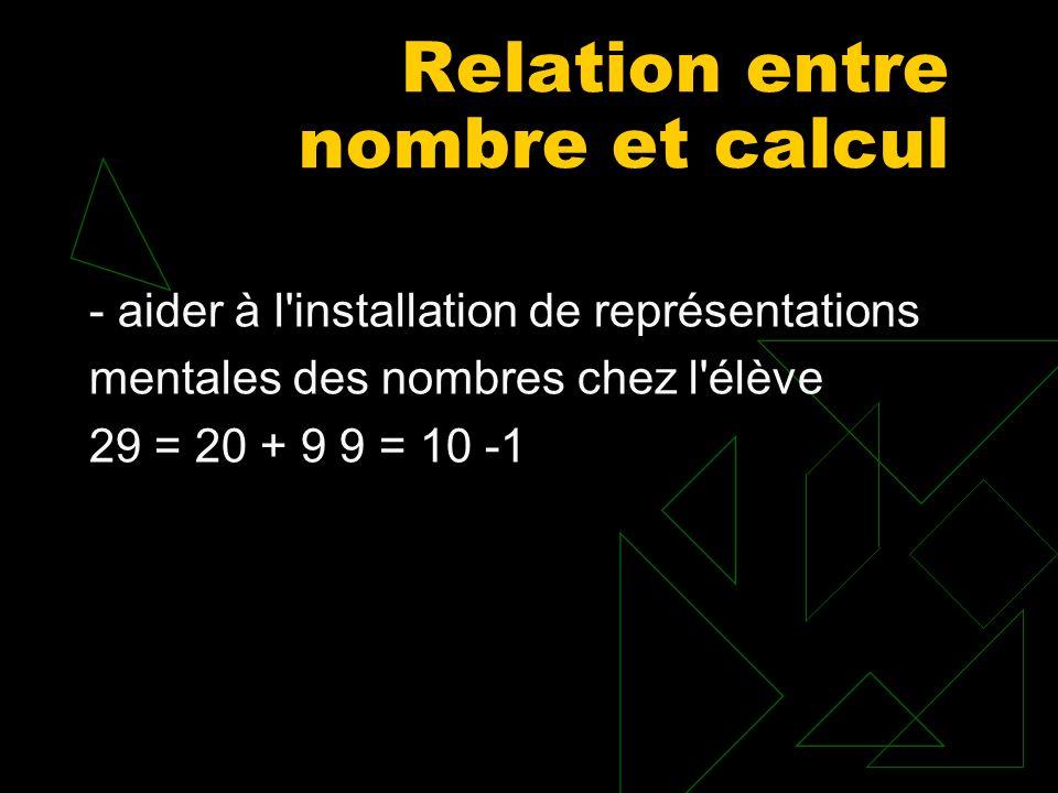 Relation entre nombre et calcul - aider à l'installation de représentations mentales des nombres chez l'élève 29 = 20 + 9 9 = 10 -1