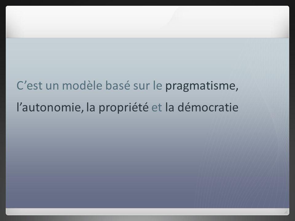 Cest un modèle basé sur le pragmatisme, lautonomie, la propriété et la démocratie