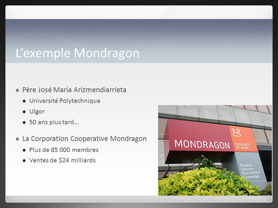 Lexemple Mondragon Père José María Arizmendiarrieta Université Polytechnique Ulgor 50 ans plus tard… La Corporation Cooperative Mondragon Plus de 85 000 membres Ventes de $24 milliards