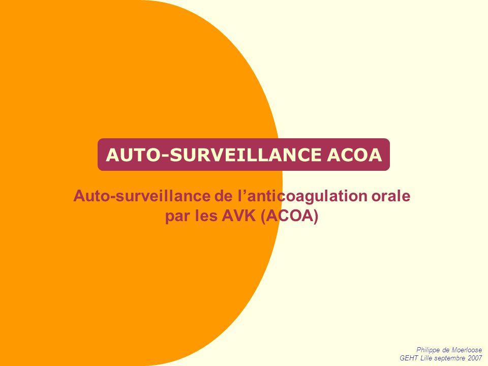 Philippe de Moerloose GEHT Lille septembre 2007 AUTO-SURVEILLANCE ACOA Auto-surveillance de lanticoagulation orale par les AVK (ACOA)