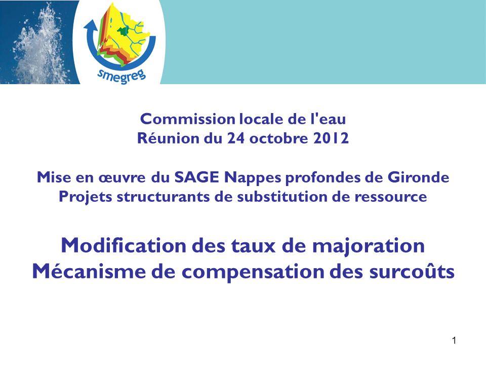 1 Commission locale de l eau Réunion du 24 octobre 2012 Mise en œuvre du SAGE Nappes profondes de Gironde Projets structurants de substitution de ressource Modification des taux de majoration Mécanisme de compensation des surcoûts