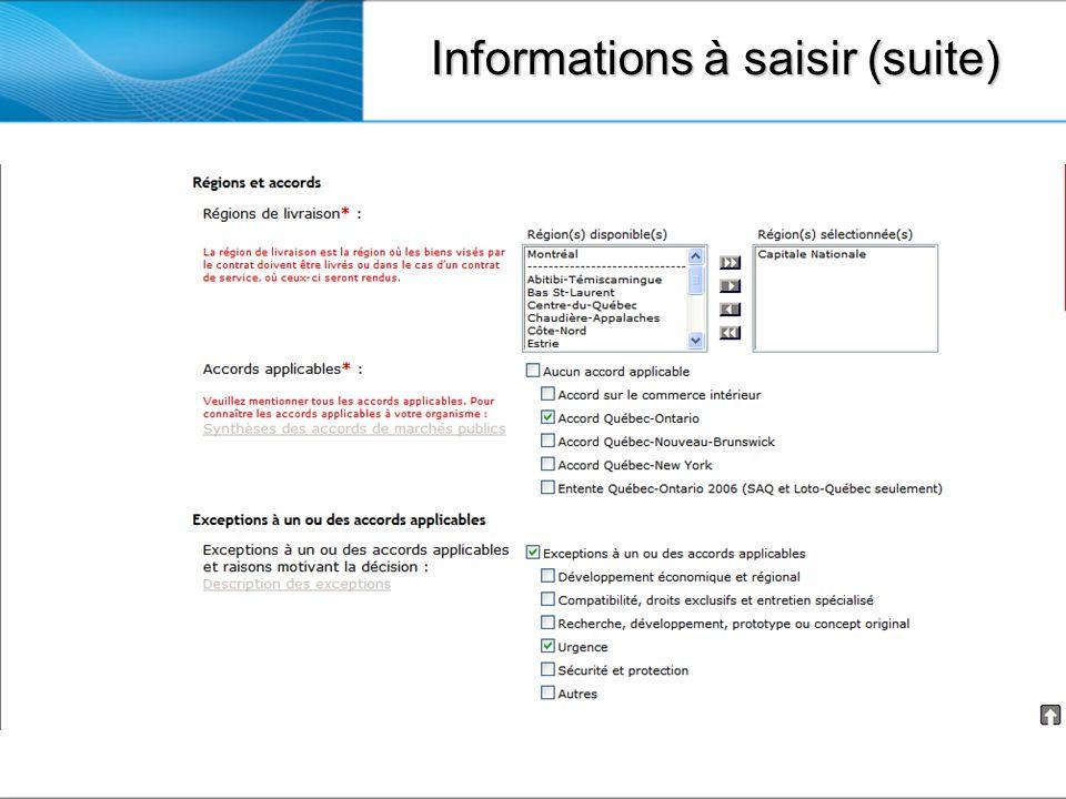Informations à saisir (suite)