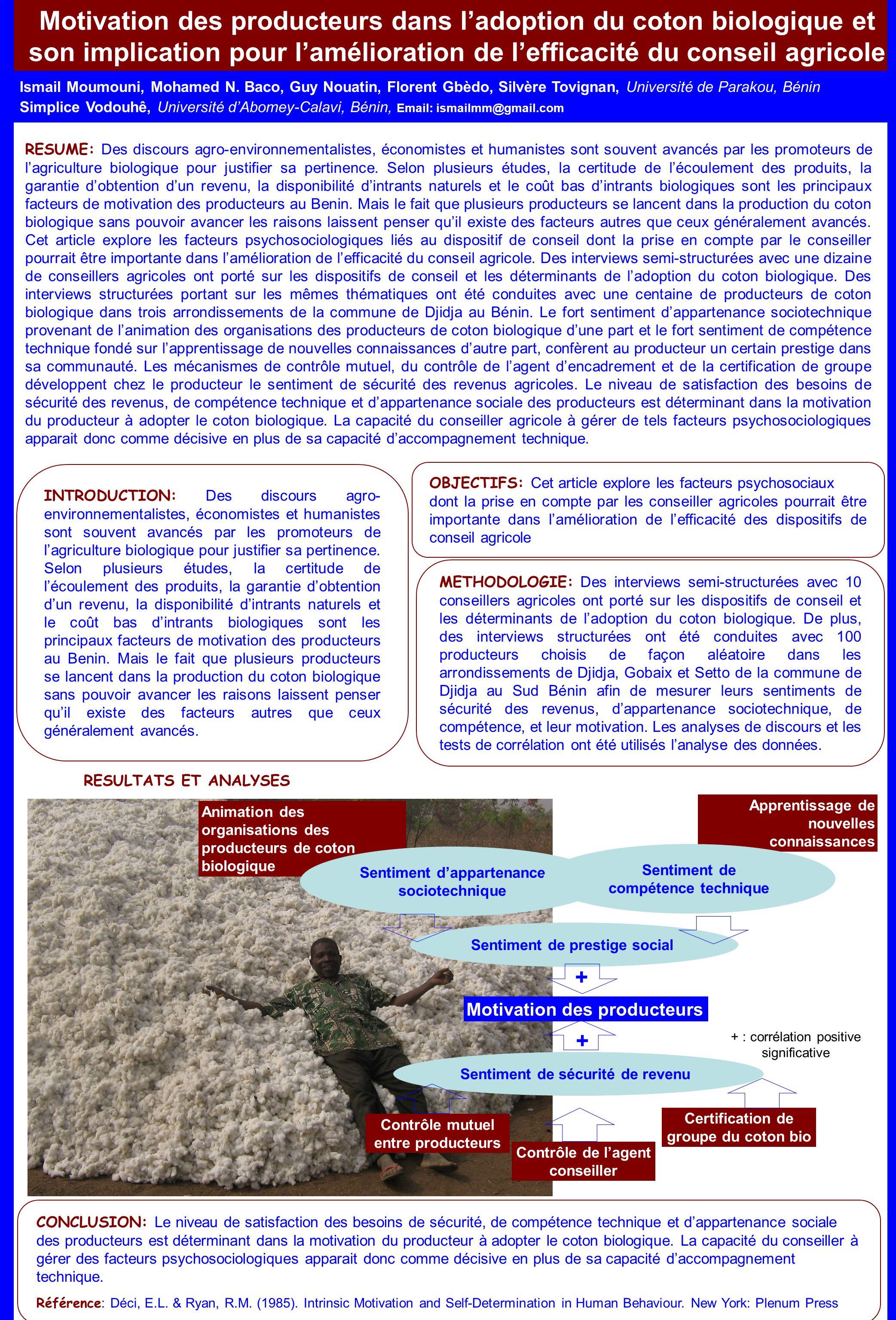 Motivation des producteurs dans ladoption du coton biologique et son implication pour lamélioration de lefficacité du conseil agricole Ismail Moumouni, Mohamed N.