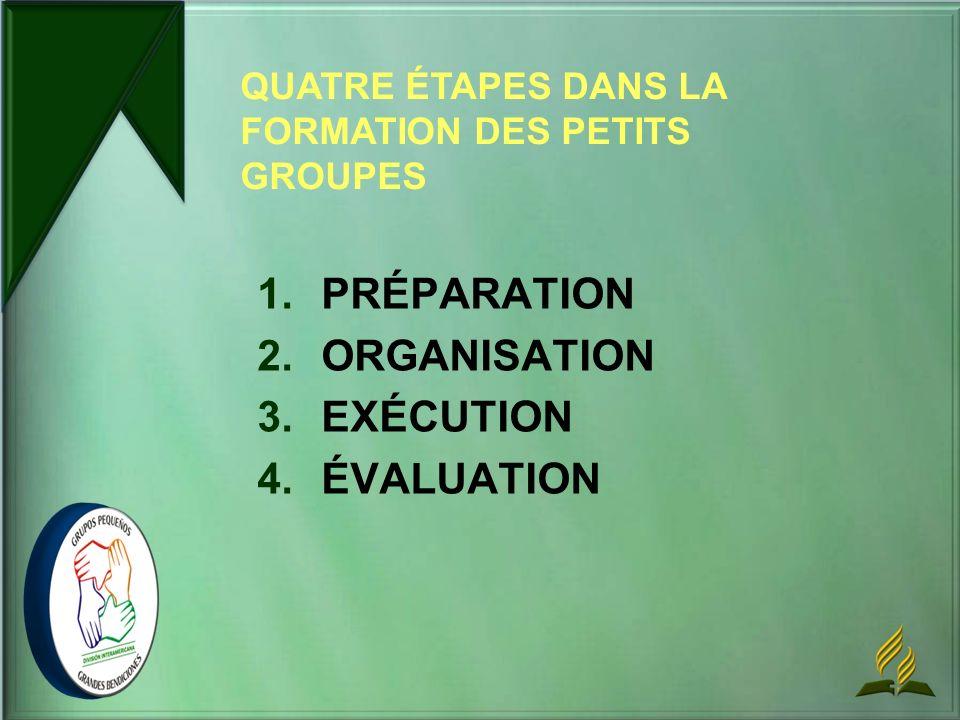 1. 1.PRÉPARATION 2. 2.ORGANISATION 3. 3.EXÉCUTION 4. 4.ÉVALUATION QUATRE ÉTAPES DANS LA FORMATION DES PETITS GROUPES