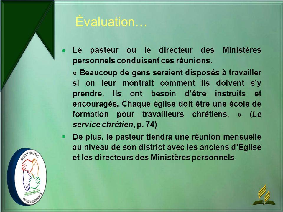 Le pasteur ou le directeur des Ministères personnels conduisent ces réunions. « Beaucoup de gens seraient disposés à travailler si on leur montrait co