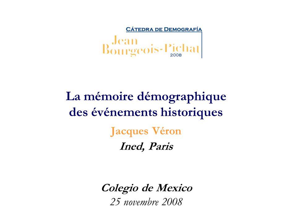 La mémoire démographique des événements historiques Jacques Véron Ined, Paris Colegio de Mexico 25 novembre 2008