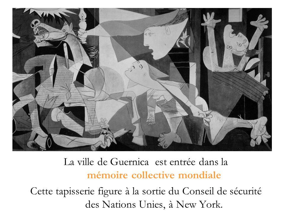 La ville de Guernica est entrée dans la mémoire collective mondiale Cette tapisserie figure à la sortie du Conseil de sécurité des Nations Unies, à New York.