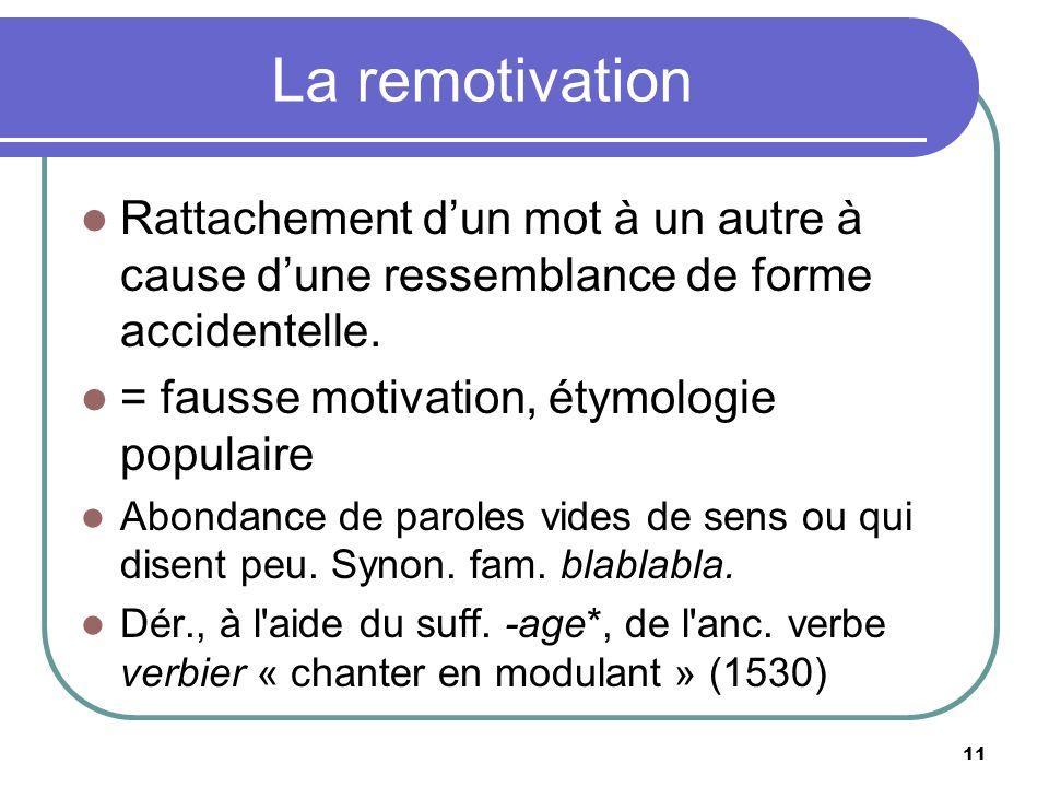 La remotivation Rattachement dun mot à un autre à cause dune ressemblance de forme accidentelle.