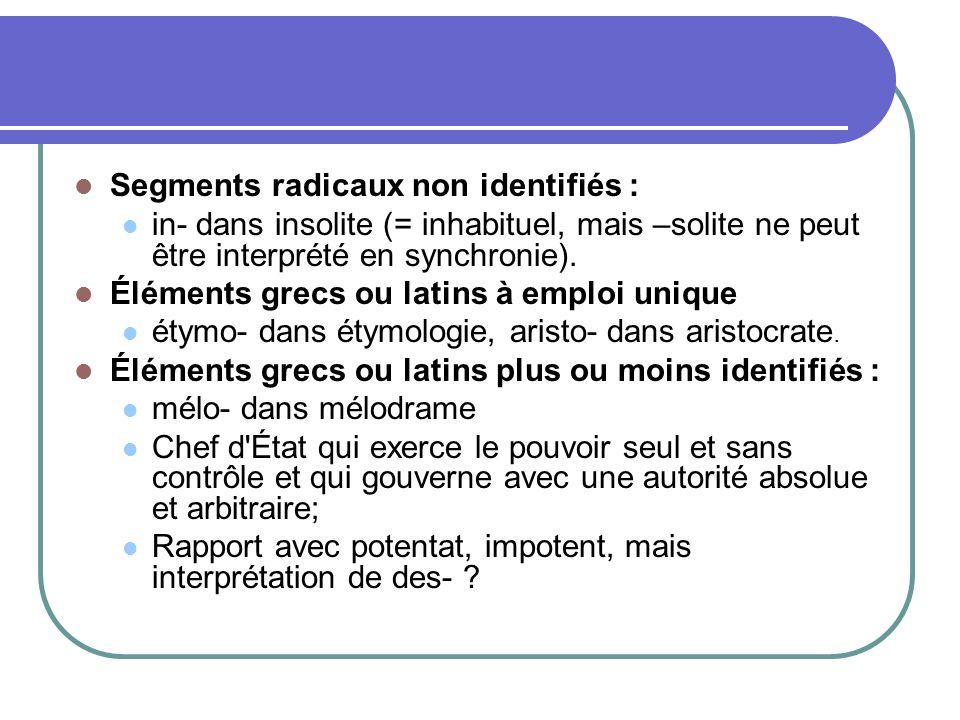 Segments radicaux non identifiés : in- dans insolite (= inhabituel, mais –solite ne peut être interprété en synchronie).