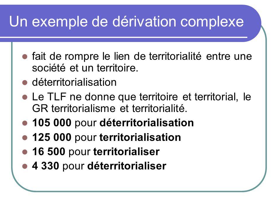 Un exemple de dérivation complexe fait de rompre le lien de territorialité entre une société et un territoire.