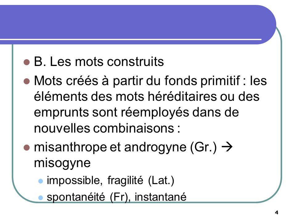 B. Les mots construits Mots créés à partir du fonds primitif : les éléments des mots héréditaires ou des emprunts sont réemployés dans de nouvelles co