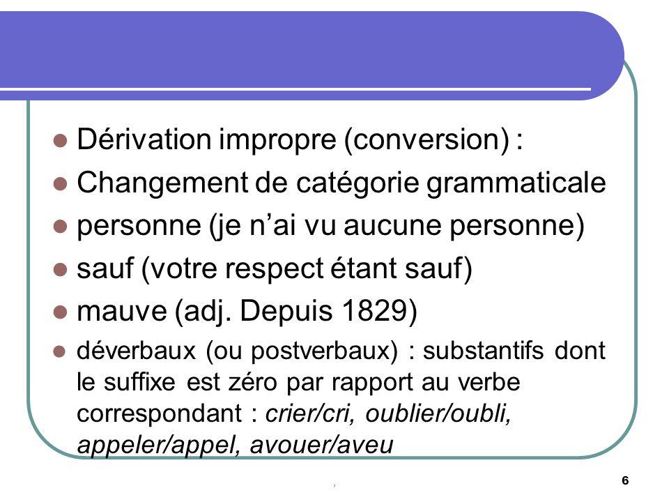 Dérivation impropre (conversion) : Changement de catégorie grammaticale personne (je nai vu aucune personne) sauf (votre respect étant sauf) mauve (adj.