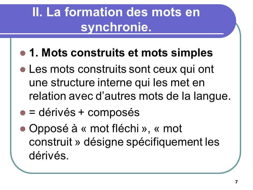 II.La formation des mots en synchronie. 1.