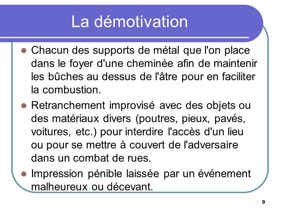 La démotivation Chacun des supports de métal que l on place dans le foyer d une cheminée afin de maintenir les bûches au dessus de l âtre pour en faciliter la combustion.