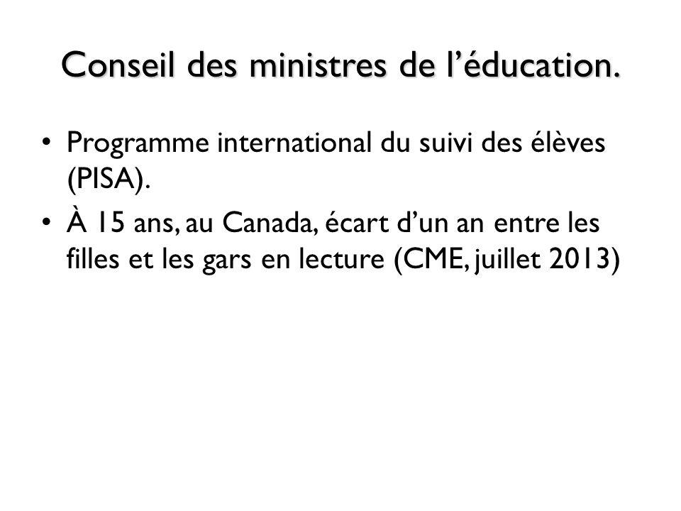 Conseil des ministres de léducation. Programme international du suivi des élèves (PISA). À 15 ans, au Canada, écart dun an entre les filles et les gar