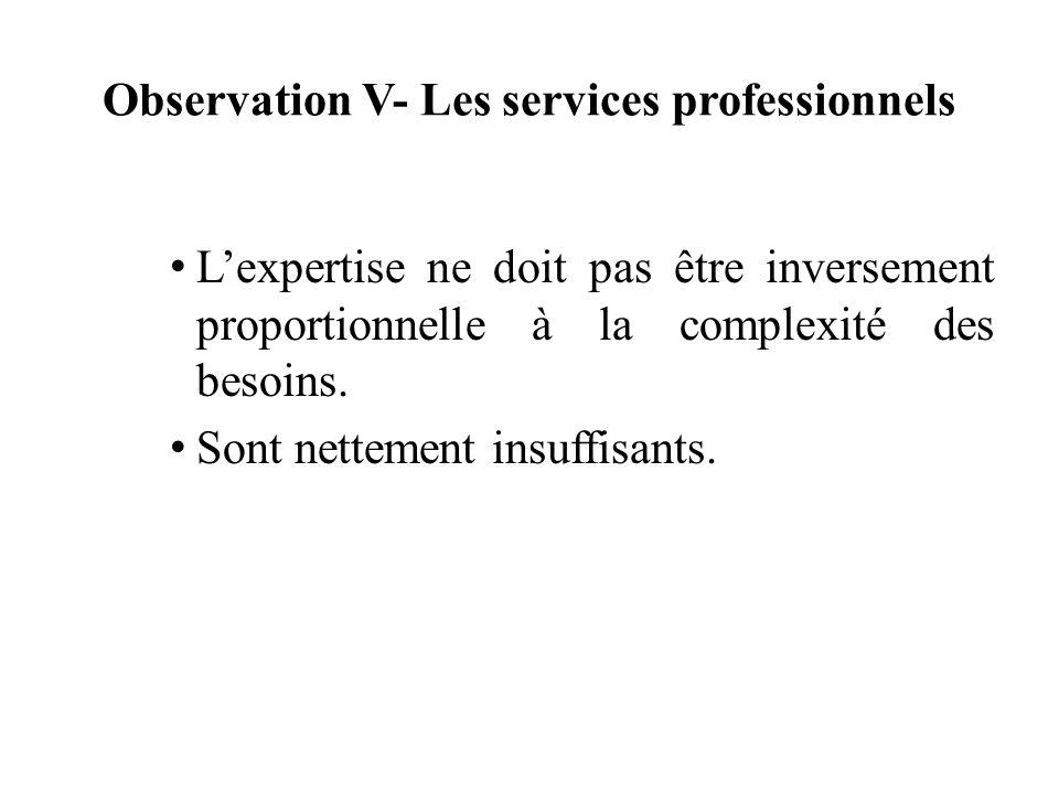 Observation V- Les services professionnels Lexpertise ne doit pas être inversement proportionnelle à la complexité des besoins. Sont nettement insuffi