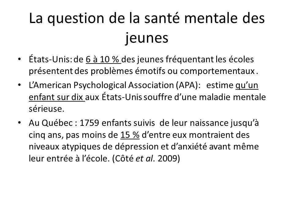 La question de la santé mentale des jeunes États-Unis: de 6 à 10 % des jeunes fréquentant les écoles présentent des problèmes émotifs ou comportementa