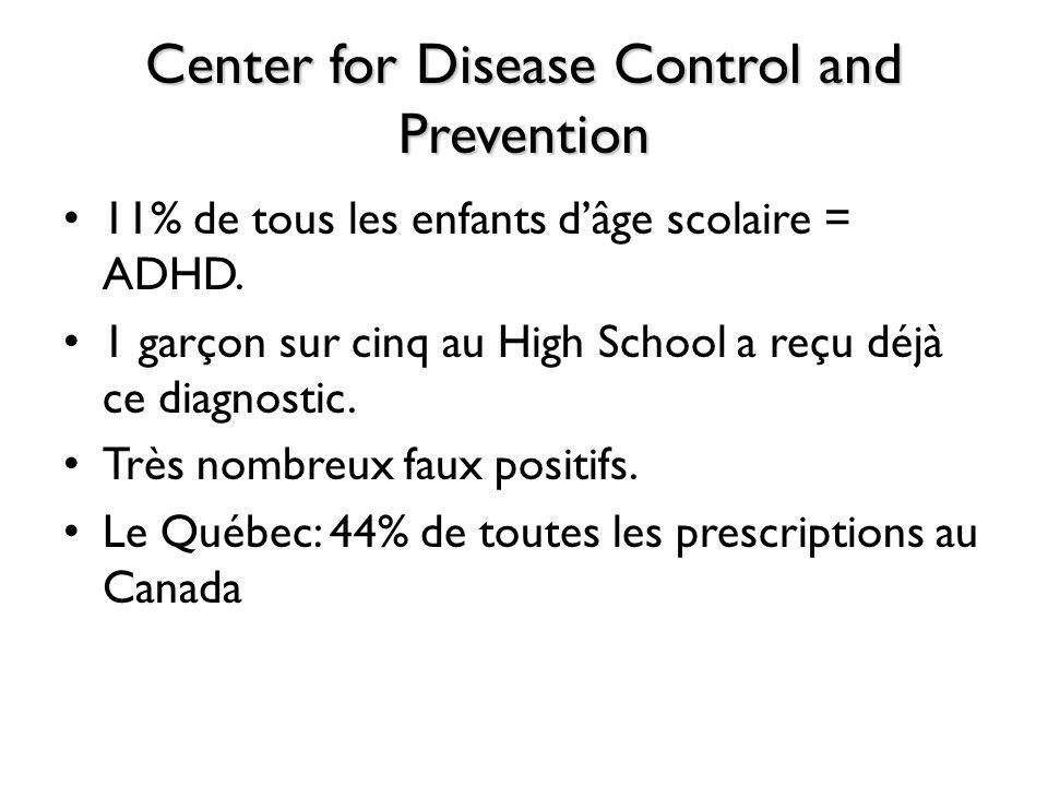 Center for Disease Control and Prevention 11% de tous les enfants dâge scolaire = ADHD. 1 garçon sur cinq au High School a reçu déjà ce diagnostic. Tr