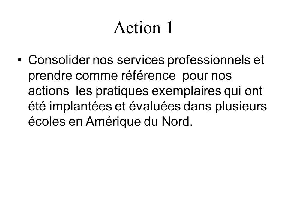 Action 1 Consolider nos services professionnels et prendre comme référence pour nos actions les pratiques exemplaires qui ont été implantées et évalué