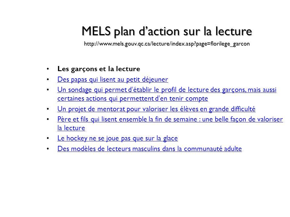 MELS plan daction sur la lecture http://www.mels.gouv.qc.ca/lecture/index.asp?page=florilege_garcon Les garçons et la lecture Des papas qui lisent au