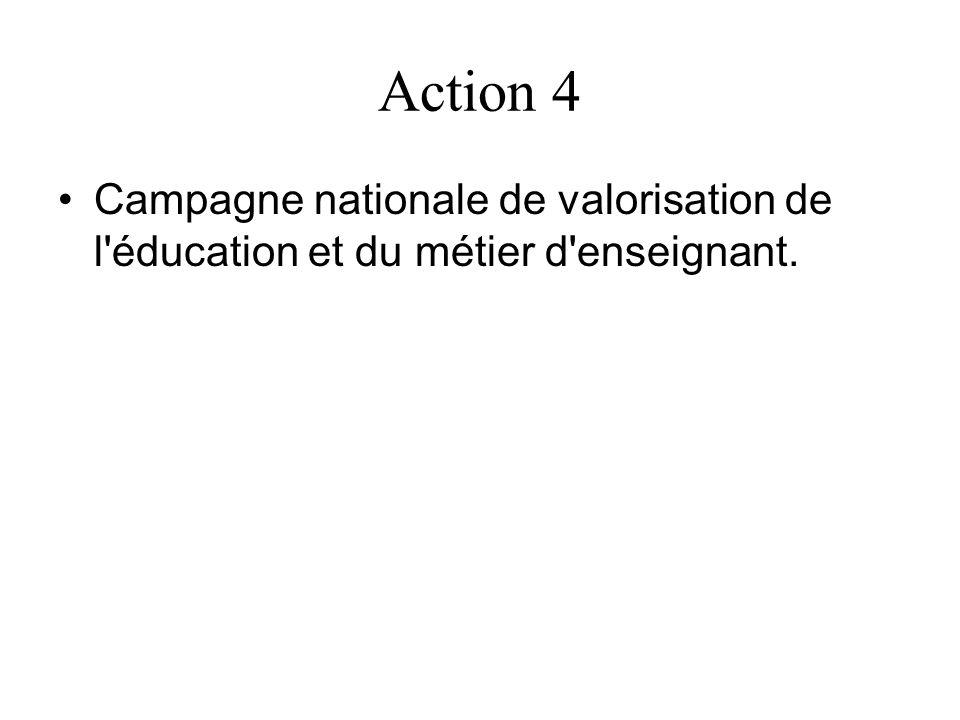 Action 4 Campagne nationale de valorisation de l'éducation et du métier d'enseignant.